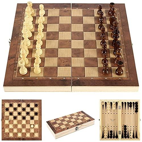 Sunshine smile Schachspiel aus Holz,3 in 1,Tragbare Holz Schachbrett,Chess Board...