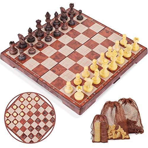 Peradix Schachspiel Magnetisch Dame Spiel 2 in 1 Einklappbar Schachbrett Schach...