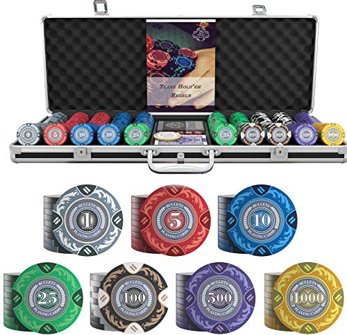 Bullets Playing Cards - Großer Pokerkoffer Tony Deluxe Pokerset mit 500 Clay...