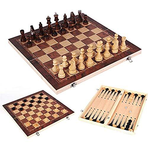 Queta 3 in 1 Schachspiel International Schach Faltbare Schachbrett mit...