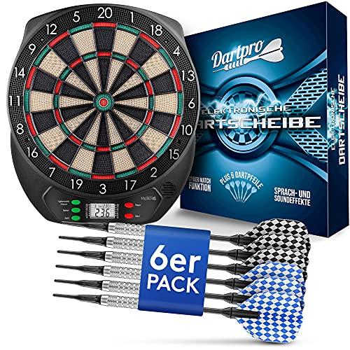 DartPro Dartscheibe elektronisch - Dartboard mit 6 Darts [kabellos nutzbar] -...