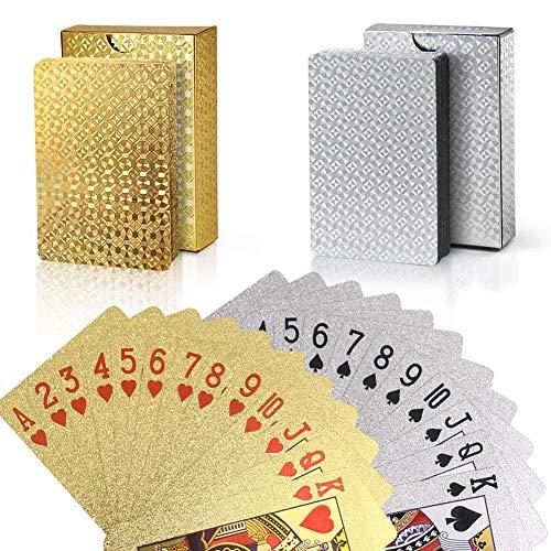 Joyoldelf 2 Stück Spielkarten, Wasserfeste Pokerkarten mit...