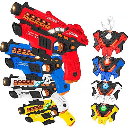 VATOS Laser Tag Spielzeug Pistole Sprühfunktion und LED-Bildschirm, 4er-Set...