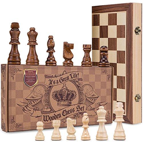 AGREATLIFE Königliches Schachspiel aus Holz handgefertigt - Hochwertiges...